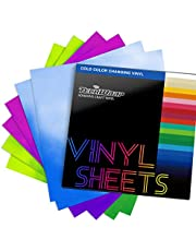"""TECKWRAP Cold Color Changing Vinyl for Craft Cutter Adhesive Permanent Vinyl Sheets,12"""" x 12"""" 5 Sheets/Pack"""