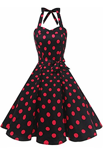 Halter Petticoat - Topdress Women's Vintage Polka Audrey Dress 1950s Halter Retro Cocktail Dress Black/Fuchisa Dot 3XL
