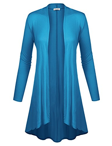 BIADANI Women Long Sleeve Classic Lightweight Open Front Jersey Cardigan Dark Turquoise Large