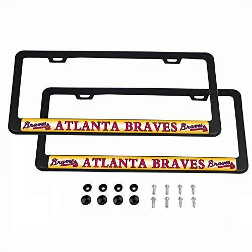 2PCS MLB Lightweight License Plate Frames Black Matte Powder Coated Aluminum - Atlanta Braves