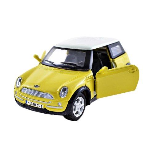 "Maisto Yellow Smart Fortwo Open Door Diecast Metal Car: Mini Cooper (Yellow) Power Racer 4½"" Vehicle * Pull-Back"