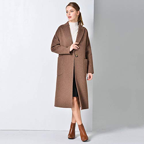 Sólido Coat Cofffee Solapa Largo Overcoat Doble Un Color Hope Botón wHOvRq