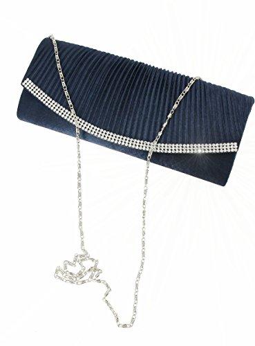 Soirée de Femme Magique Strass en Bleu Satin Marine Boutique Sac xqFRxT