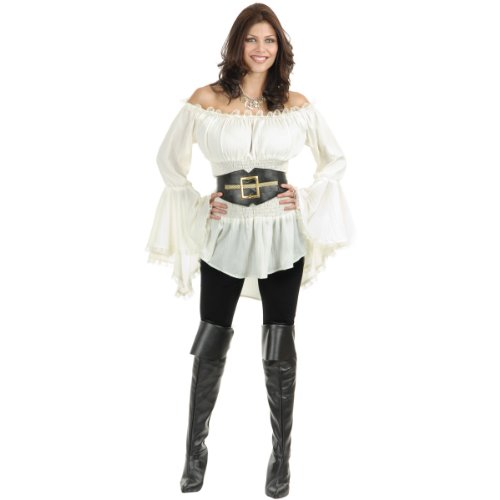 Charades Women's Pirate Lady Vixen Costume Blouse, Small -