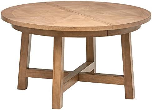 Stone Beam Jon Casual Farmhouse Wood Dining Table, 72 W, Birch