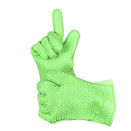 WELLAND Kitchen BBQ Gloves Oven Mitts For Cooking Grilling or Baking Green Silicone Heat Resistant Gloves