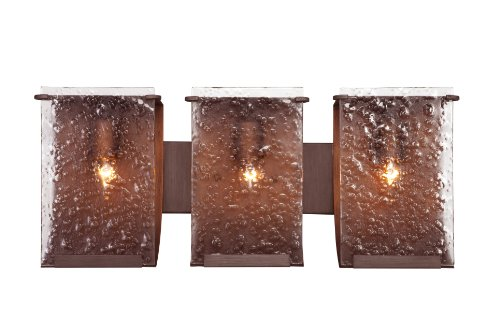 Varaluz 160B03HO Rain 3-Light Vanity - Hammered Ore Finish with Rain Recycled Glass Copper Bathroom Vanity Light
