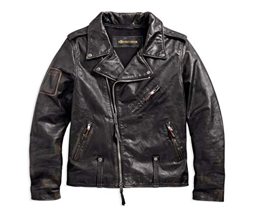Harley-Davidson Official Men's Master Distressed Slim Fit Leather Biker Jacket, Black (X-Large) ()