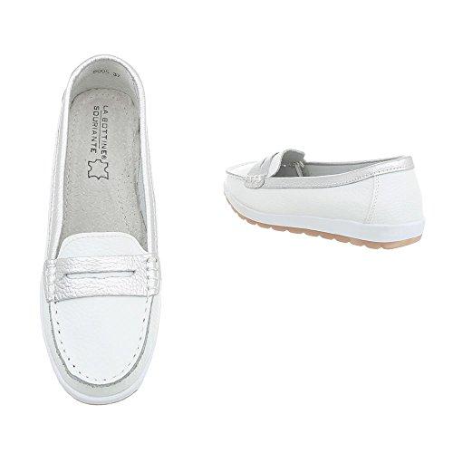 Damen Schuhe Mokassins Leder Modell Nr.1Weiß