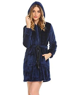 Dickin Women's Classic Thick Zip Hooded Turkish Bathrobe Terry Cloth Robe