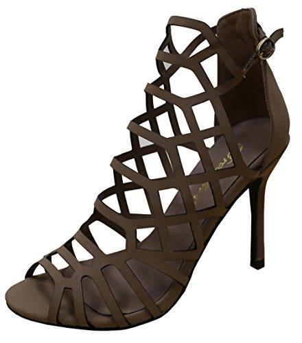 Heel Women Tan Toe US Cutout Open M Laser Stiletto 's Natural Breckelle's B Geometric 's 7 Sandal Peep 5ApaA0q