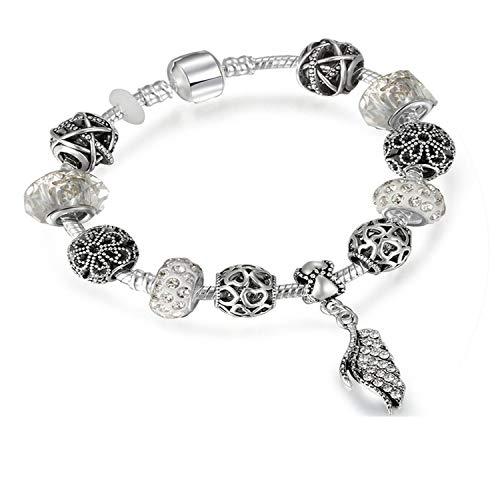 Judith Pendant White Ripka (Antique Charm Bracelets with Majestic Feathers Pendants Bracelet for Women Wedding,White,18cm)
