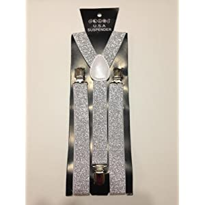 Glitter Suspender for Mens&womens Clip-on Sexy Elastic Y-shape Adjustable Braces