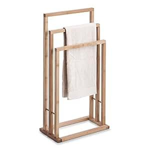 Zeller 13575 - Toallero de pie con triple barra (bambú, 42 x 24 x 81,5 cm)