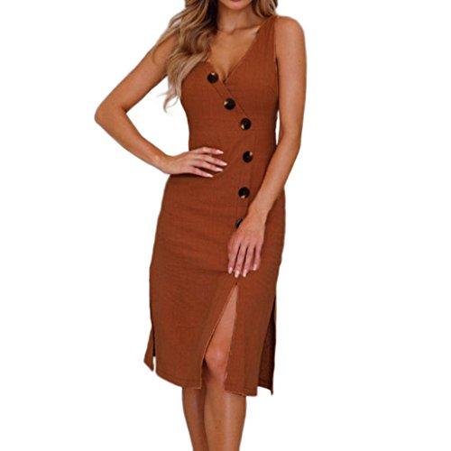 AIEason Women Summer Buttons Sexy V Neck Sleeveless Cotton Linen Sheath Casual Dress XL ()