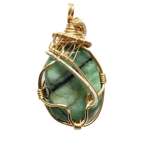 (Handmade Emerald Crystal Necklace Wire Wrapped in 14k Gold & Sterling Silver - May Birthstone Jewelry)