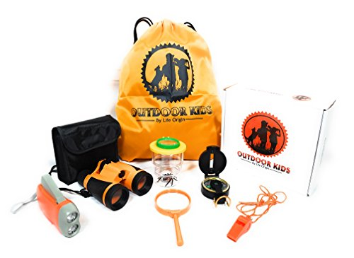 Outdoor Toys for Kids - 10 in 1 Adventure Kids Outside Children Exploration Kit Binoculars Flashlight Compass Whistle Magnifying Glass Bug Container Spider Backpack Camping Birthday Gift for Boy Girls