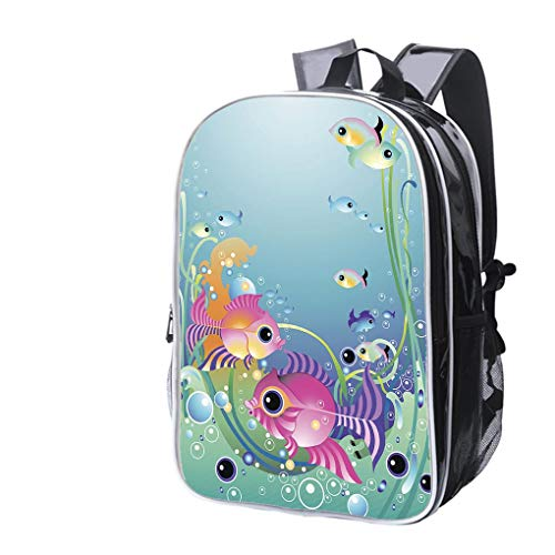 (High-end Custom Laptop Backpack-Leisure Travel Backpack Little Fish with Stripes Water Resistant-Anti Theft - Durable -Ultralight- Classic-School-Black)