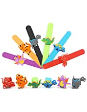 Flunyina 12Pack Dinosaur Slap Bracelets Soft Silicone Party Favors Carnival Prizes Gifts for Kids