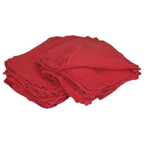 Red Star Rags Shop Towel Towels (Pack of 100) (13 x 13 Inches) Commercial Grade Machine Washable Cotton Washcloths Lint Free White Shop Rag - Perfect for Auto Mechanic Work (Red)