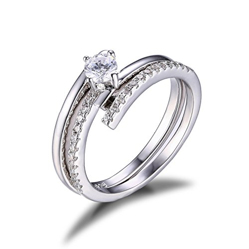 Jewelrypalace CZ 925 Sterling Silver Wedding Band Engagement Ring Set Size 7