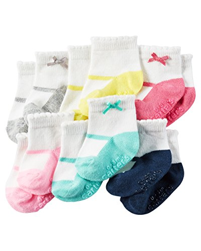Carter's Baby-Girls Socks, Mary Jane Heather, 0-3 Months (Pack of 6)