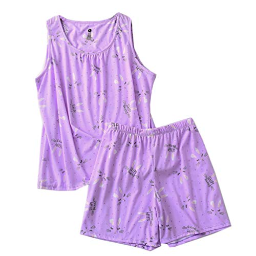 ENJOYNIGHT Women's Cute Sleeveless Print Tee and Shorts Sleepwear Tank Top Pajama Set (Medium, Sleepy Bunny) ()