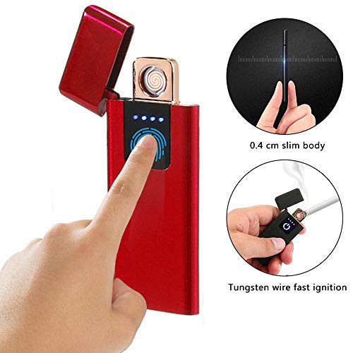 Led Slim Lighter (KOBWA Rechargeable USB Lighter, Slim Fingerprint Induction Lighter, Flameless Plasma Beam Lighter, Portable Windproof Waterproof Arc Lighter,Battery Indicator, No Butane)