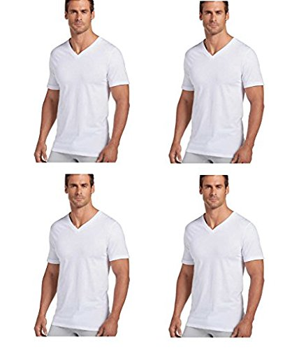 Jockey Mens V-Neck T-Shirts Classic Tag Free Cotton - Stay New Technology Stay White (White, Large) (New Tags Large)