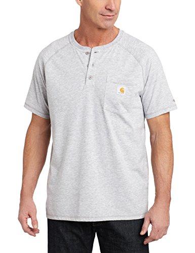 (Carhartt Men's Force Delmont Short Sleeve Henley T-Shirt (Regular and Big & Tall Sizes), Heather Gray, Small )