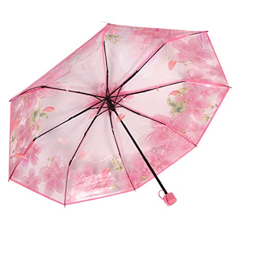 (3 Folding Cherry Blossom Rain Wind Umbrella Full Automatic Folding Transparent Clear Auto Travel Umbrella for Women Girls)