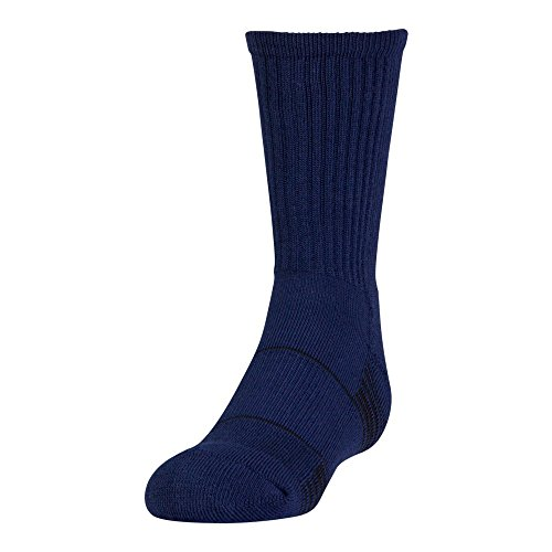 Under Armour Team Crew Socks (1 Pair), Midnight Navy/White, Youth Large - Navy Blue Youth Arch