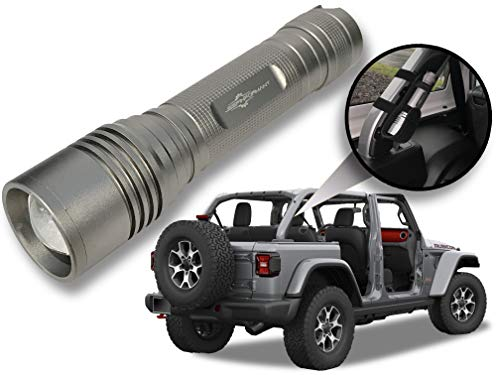 Billet Silver Metallic LED Flashlight with Roll Bar Holster, Jeep JL Accessories, Zoomable, Ultra Bright, 1000 Real Lumens, Brightness Control, SOS and Strobe 2018 Jeep Wrangler JL Accessories
