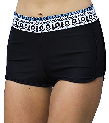 DUSISHIDAN Solid Boardshorts Tankini Shorts Trunk for Women Stretch Boyshort Swim Bottom Printblue XXL