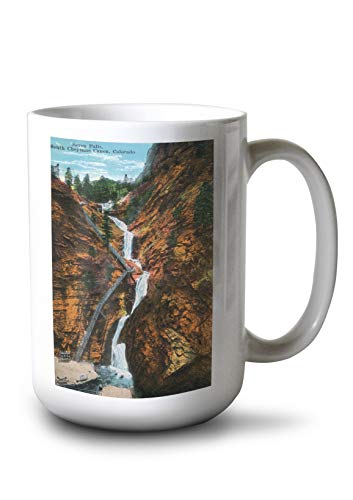 Lantern Press Colorado Springs, Colorado - South Cheyenne Canyon, Seven Falls View (15oz White Ceramic Mug) ()
