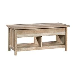 Sauder 420336 Cannery Bridge Lift Top Coffee Table, L: 43.15″ x W: 19.45″ x H: 19.02″, Lintel Oak Finish