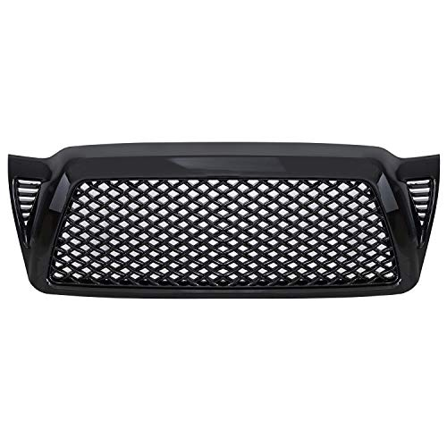 AA Products Dragon Sport Mesh Grille Compatible Toyota Tacoma 2005-2011 Front Hood Bumper Grill Grille ABS Gloss Black ()