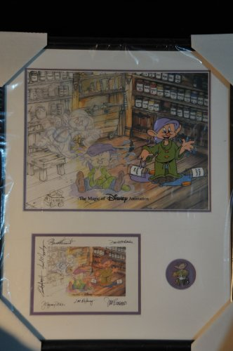 "Dopey ""All Mixed Up"" Ink Sericel Apx. 16"" X 20"" Picture Postcard with Artists Signature and Pin Sealed By Disney in Black Frame. 2000 Includes Authentication Certificate. Rare Collectible Hard to Find"