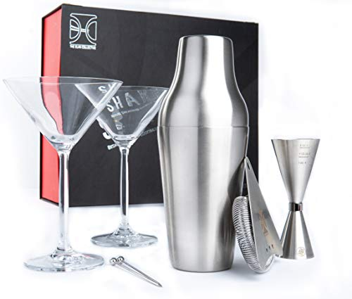 The Elan Collective Shake it Up Martini Cocktail Set I 8 Piece Barware Kit - 22oz. Stainless Steel Parisian Shaker, 2-10 oz Martini Glasses, Hawthorne Strainer, Bar Spoon, and 2 Picks
