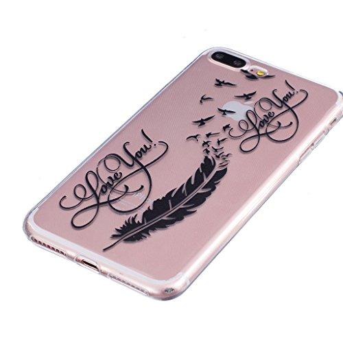 "Hülle iPhone 7 Plus, IJIA Ultra Dünnen Feder Vogel TPU Weich Silikon Handyhülle Schutzhülle Handyhüllen Schale Cover Case Tasche für Apple iPhone 7 Plus (5.5"") + 24K Gold Aufkleber"