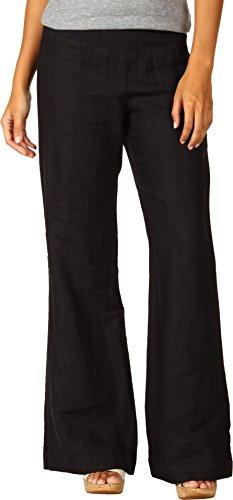Three Dots Red Women's Linen Wide Leg Pant, Black, Large