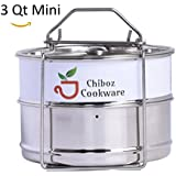Instant Pot Accessories 3 qt Mini Stackable Stainless Steel Pressure Cooker Insert Pans with Sling Handle includes 3 Pans with 2 Regular Cooking Pans and 1 Steamer Pan by Chiboz Cookware