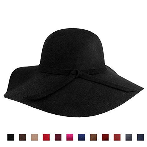 AStorePlus Classic Vintage Women Wool Wide Brim Hat Elegant Ladies Floppy Beach Sun Cap, Black (Vintage Wool Scarf)
