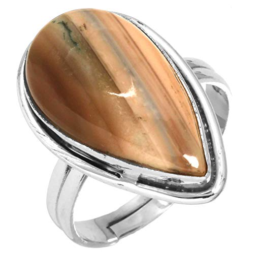 Natural Royal Imperial Jasper (Mexico) Gemstone Adjustable Ring Solid 925 Sterling Silver Designer Jewelry Size 9 ()