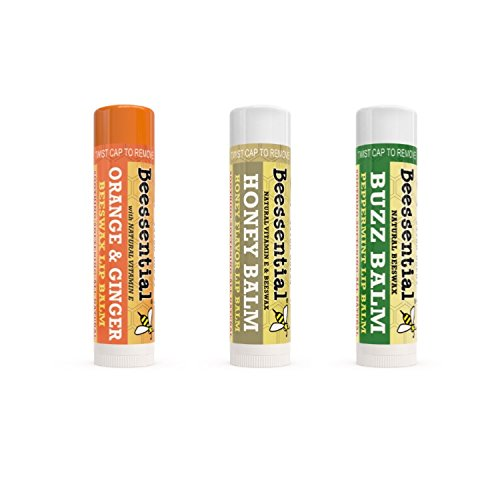 Beessential All Natural Lip Balm Variety 3 Pack with Moisturizing Beeswax, Shea & Cupuacu Butter, Coconut for Dry and Chapped Lips - For Adults and Kids - Made in the USA