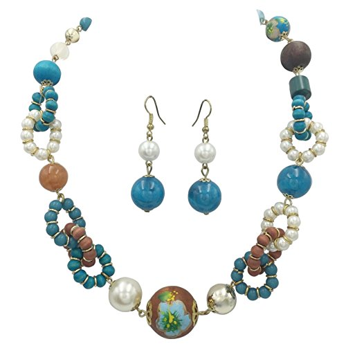 Gypsy Jewels Multi Color Painted Wood Hawaiian Look Flower Beaded Necklace & Earrings Set (Blue & ()