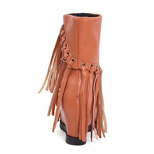 Allhqfashion punta suave alto botas tacón altas redonda Material marrones para mujer botas sólido ggRwOUrq