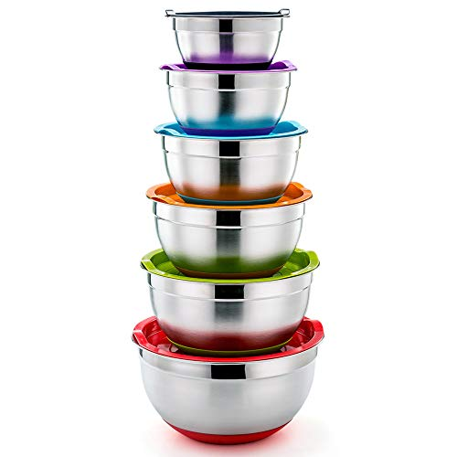 P&P CHEF Mixing Bowls With Lids, Set of 6 (12 Piece), Stainless Steel Nesting Mixing Bowls & Tight Fitting Lids & Non-Slip Silicone Bottom, 6 Multi Size (1/1.5/2.5/3/4/5qt) (Large Nesting Bowl)