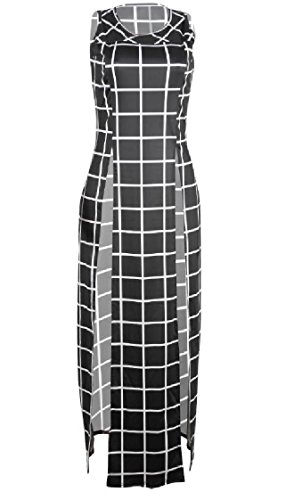Black Sexy Coolred Sleeveless Dresses High Plaid Club Evening Maxi Crewneck Split Women YSSxqTwP