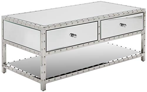 Christopher Knight Home Ryanne Studded Mirrored 2-Drawer Coffee Table (Tables Cocktail Mirrored)